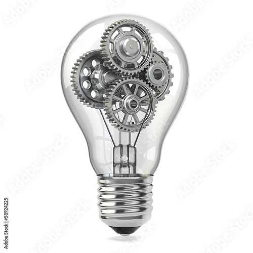 Photo  Lamp bulb and gears. Perpetuum mobile idea concept.