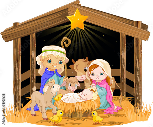 Printed kitchen splashbacks Fairytale World Holy Family at Christmas night