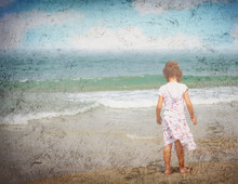 Little Girl Standing Alone At The Beach, Grunge Photo Effect