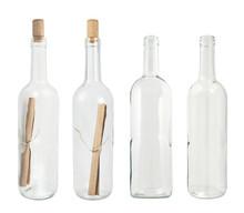 Set Of Four Glass Bottles Isol...