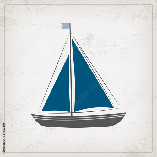 Vintage marine card with sailboat