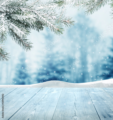 Photo Stands Light blue winter background