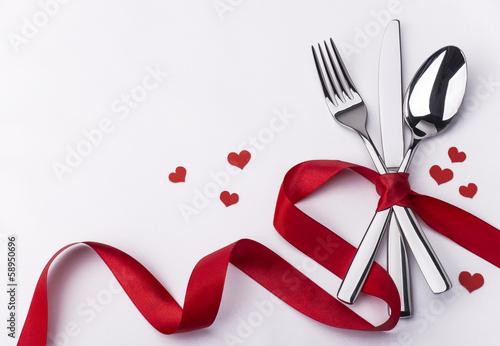 Fotobehang Restaurant Celebration set with silverware