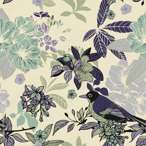 jedwabne-kwiaty-i-ptaki-wzor-retro