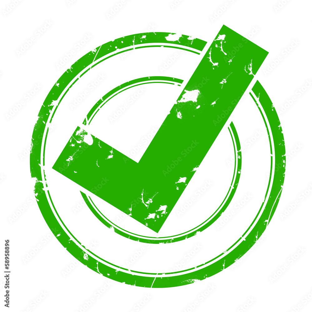 Fototapety, obrazy: tampon vert - validé - checkbox