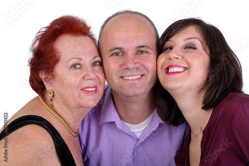 Photographie  Happy Man with his Mother and Sister Together Trio Portrait