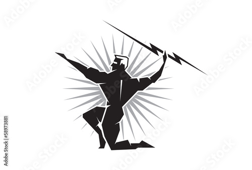 Photo  Olympian Zeus throwing a bolt of lightning