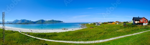 Foto auf Leinwand Skandinavien Beautiful sandy beach panorama on Lofoten islands, Norway