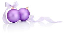 Two Purple Christmas Balls Wit...