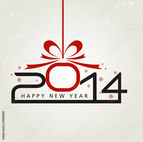 Poster  Happy new year 2014 illustration