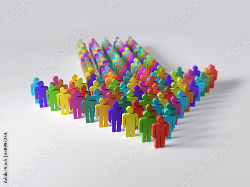 Photo  Arrow of multicolor people