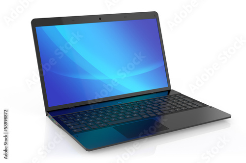 Photo  Modern black laptop.