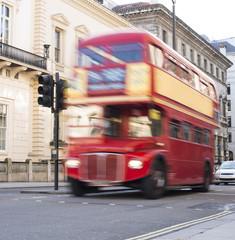 Red vintage bus in London.