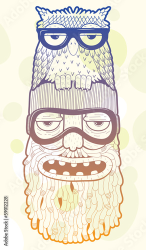 Aufkleber - bearded man in ski-glasses with owl on his head