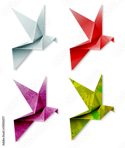 Keuken foto achterwand Geometrische dieren Set of colorful origami bird. Vector illustration, EPS 10