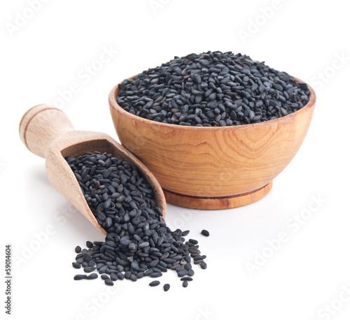 Fototapeta black sesame seeds isolated on white obraz