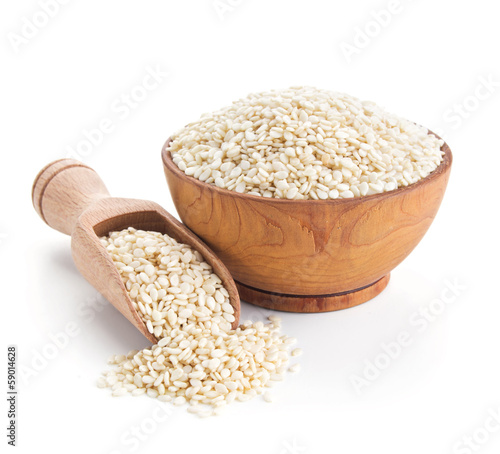 sesame seeds isolated on white Canvas Print