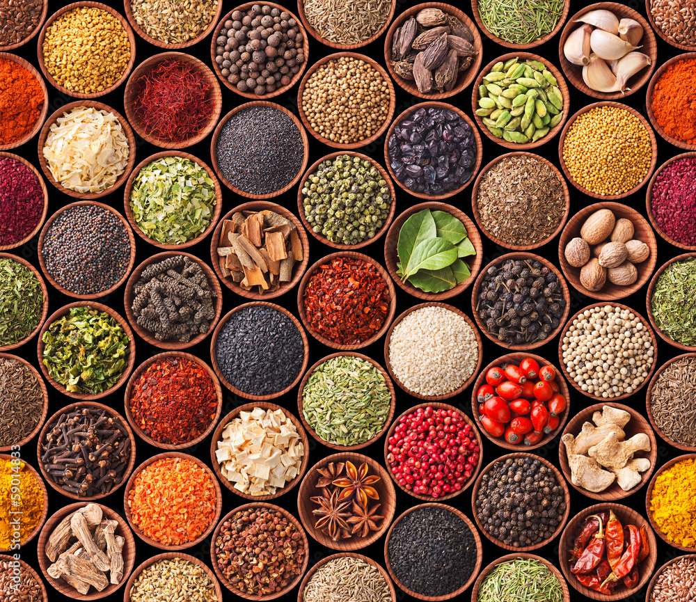 Fototapety, obrazy: Seamless texture with spices and herbs