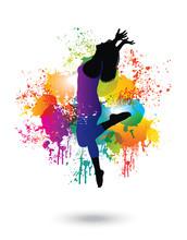 Dancing Woman. Colorful Dancing Concept