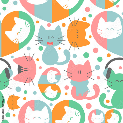 Seamless pattern with cute colorful kittens