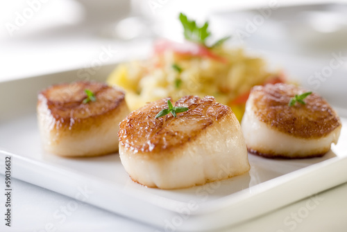 Fotografie, Obraz  Seared sea scallops with orzo and vegetables.