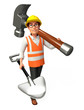 worker with big hammer and spade