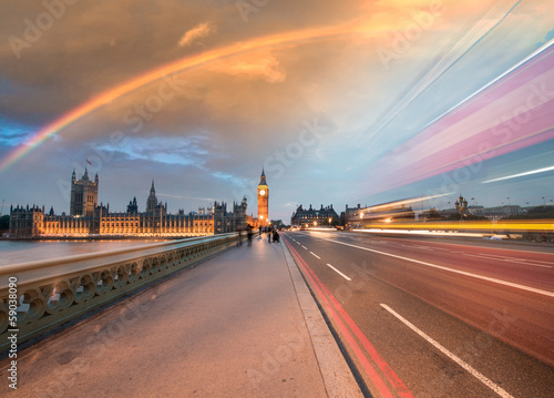 Fotografie, Tablou  Rainbow over Houses of Parliament and Westminster Bridge - Londo