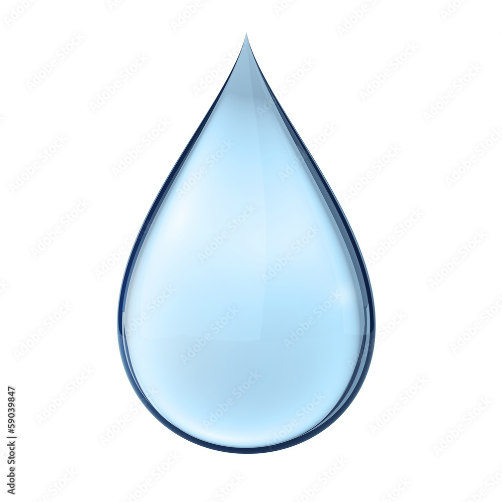 Fototapeta 3D water drop on white isolated with clipping path