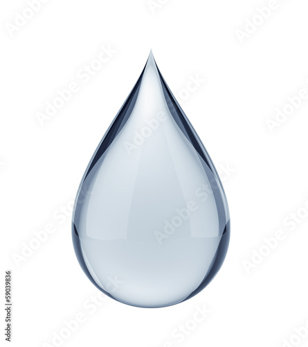 Fotografía  3D water drop on white isolated with clipping path