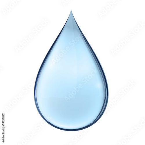 Fényképezés  3D water drop on white isolated with clipping path