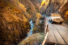 SUV Into The Caucasus Mountain...