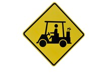 Isolated Golf Crossing Sign