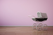 Baby Stroller On Pink Wall Hor...