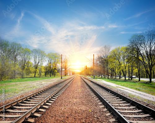 Poster Voies ferrées Railroad at sunrise
