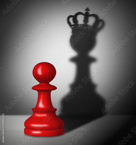 Fotografie, Obraz  Chess pawn with the shadow of a king