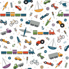 Fototapeta Do przedszkola traffic elements pattern on white background