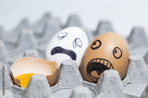 Fotografie, Tablou  Horrified onlooking eggs