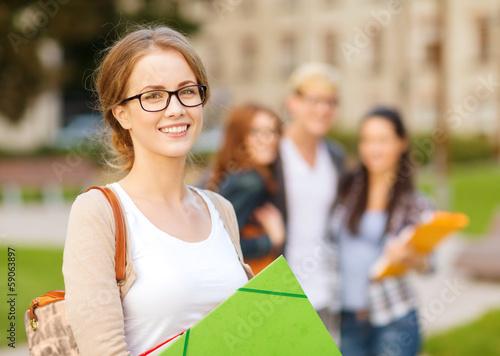 Fotografie, Obraz  female student in eyglasses with folders