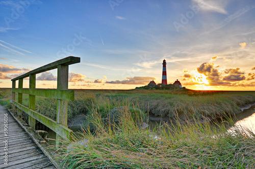 Keuken foto achterwand Noordzee Leuchtturm Westerhever