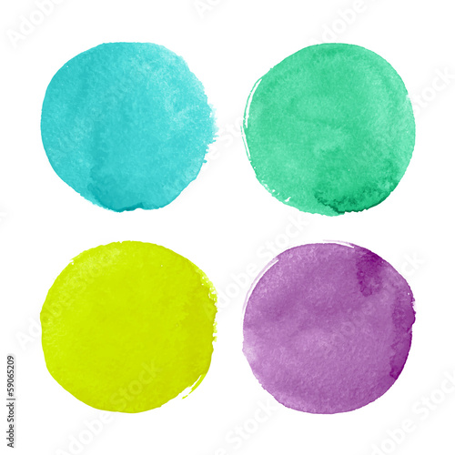 Fotografie, Obraz  Bright watercolor circles for design