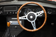 Wooden Steering Wheel From A MGB Roadster Sports Car