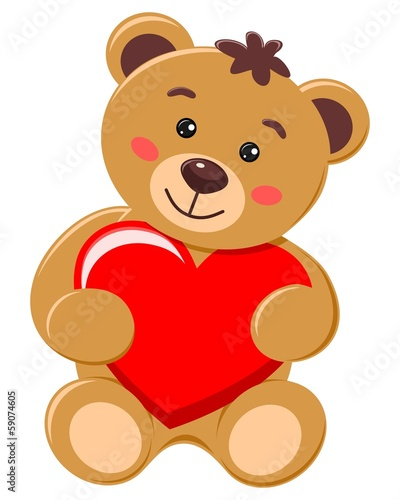 Bear holding a heart with love #59074605