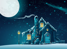 Illustration  With A Fabulous Home In The Moonlight