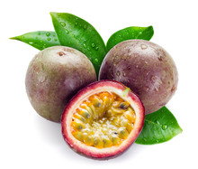 Wet Passion Fruits With Leaves...