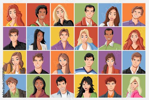 Fototapety komiks   twarze-mody-kreskowki-mlodzi-ludzie