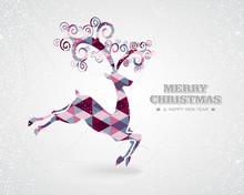 Merry Christmas Retro Geometric Reindeer