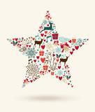Merry Christmas star shape illustration