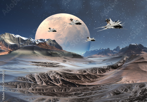 Wall Murals Ocean Alien Planet with Mountains and Spaceships