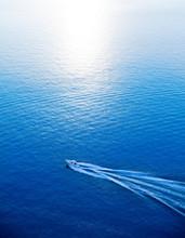 Boat Cruising Blue Mediterrane...