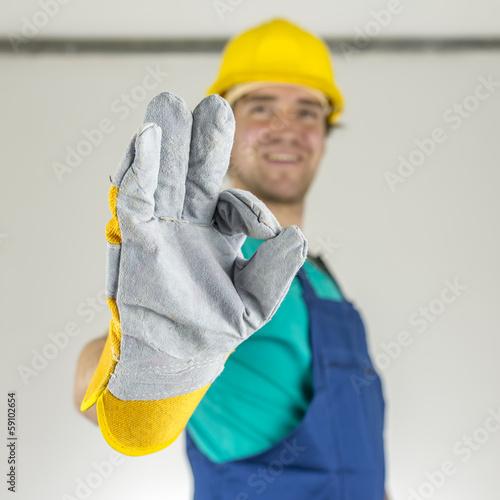 Fotografie, Obraz  Construction worker showing ok sign